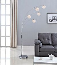 Artiva USA 'Manhattan' 84-inch Modern Chrome 5-arch Crystal Ball Floor Lamp with