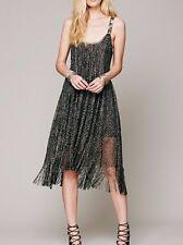 FREE PEOPLE Midnight Magic Fringe Black Gold Sparkly Metallic Dress ☮ SMALL