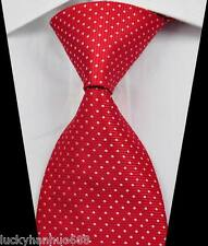 New Classic Stripes Dots Red White JACQUARD WOVEN 100% Silk Men's Tie Necktie