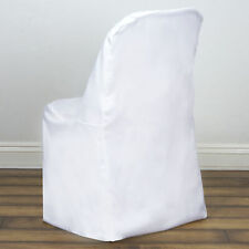 10 White Polyester Folding Chair Covers Wedding Banquet Reception Decorations