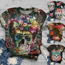Plus Size Women's Short Sleeve 3D Skull Printed Tops Tee T-Shirt Blouse DA