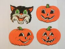 Vintage Scary Black Cat and Pumpkins Halloween Die Cut Paper Decor 00004000 ations Beistle