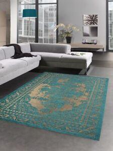 Moderner Teppich Wohnzimmerteppich Kelim Orient türkis gold
