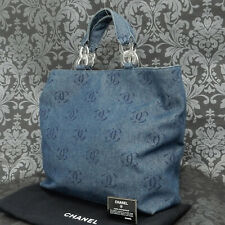 Rise-on CHANEL By Sea Line Denim CC Logos Blue Plastic Tote bag Handbag #1812