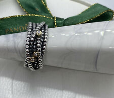 Pandora Silver 14k Gold Diamond Entangled Beauty Ring Size 60 #190242D Authentkc