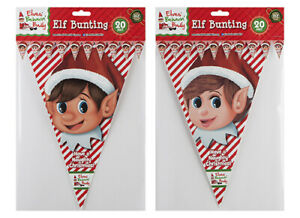 20ft Naughty Elf Design Triangular Red Christmas Party Bunting Decorations 061