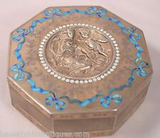 Exquisite Antique Octagonal French Silver & Enamel Jewelry Box Woman & Cherub