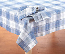 "Blue Plaid Tablecloth Metallic Lurex Stripe detail 60""x84"" OVAL Blue White Plaid"