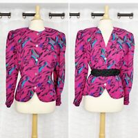 Vintage 80s Jacques Vert blouse pink colorful print mother of pearl button front