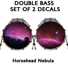 "Custom 22"" DOUBLE Bass Drum Head Decals *LOT OF 2* Skin Wrap Kick Sticker Vinyl"