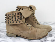 ALL SAINTS Beige Suede Studded Leather Military Combat Boots, Size EU 38 / UK 5