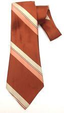True Vintage Necktie Wide Neck Tie Copper Pink Grey White Striped Pattern Kitsch
