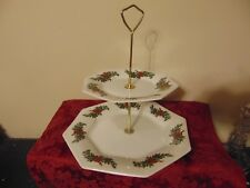 House of Prell Christmas 2-Tier Serving Plate Platter Snack Holly White
