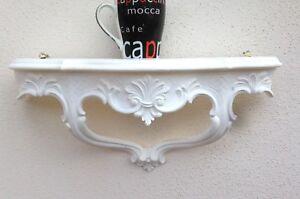Console Muro Antico Mensola Barocco Bianco Opaco B: 45xT: 15xH :21cm