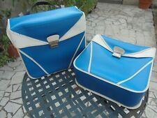 paire anciennes sacoche cyclo solex mobylette bleues et blanches vintages