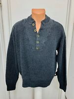 Redhead mens heavy knit sweater pullover henley cotton acrylic  l large