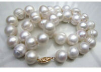 20 inches Real Pearl 10-11mm South Sea White Baroque Pearl Necklaces