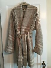 Authentic Burberry Wrap Fringe Wool Blend Coat Size 4