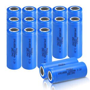 16Pcs 3.2V IFR 18500 Li-ion Rechargeable Battery 1200mAh LiFePO4 Flat Top PKCELL