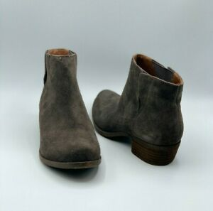 Lucky Brand Women's Benissa Gray Taupe Suede Pull-On Ankle Booties Size 6.5