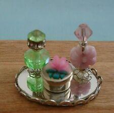 Miniature Dollhouse Silver Tone Mirrored Vanity Tray Perfume Bottles Dish & Lid