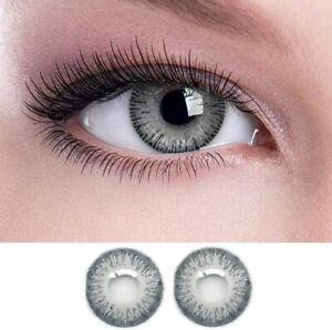 Diamond Eye Monthly Grey Colored Eye  Lenses 0 Power Solution With Case