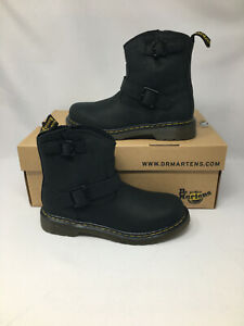 Dr Martens Kids Burnished Wyoming Black Boots Size 2/34 (SD161F)