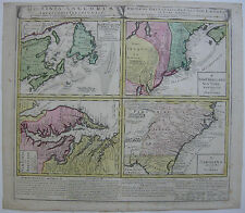 English Colonies America New Jersey Newfundland color Copperplate Map 1745