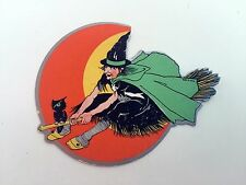 Vintage Halloween Decoration Small Seal / Sticker Witch on Broom w/ Owl and Moon