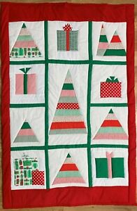 Handmade Christmas Quilt Lap Blanket Cotton Throw Thick Comforter Holiday