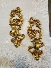 """Vtg Pair Of 2 Gold Homco Ornate Floral Wall Sconce 4118 Candle Holder 15"""" 1971"""