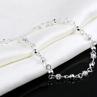 Fashion Silver Plated Crystal Chain Beads Jewelry Bangle Charm Women Bracelet