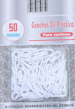 50 x CURTAIN HOOKS FOR CURTAINS WITH HEADER TAPE WHITE PLASTIC NYLON NEW