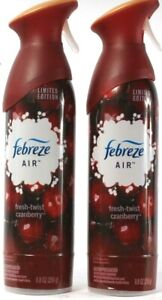 2 Spray Bottles Febreze Air Limited Edition Fresh Twist Cranberry 8.8Fl oz