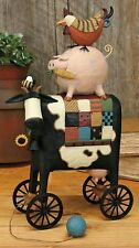 """Cow, Pig and Rooster Pull Toy -""""Patchwork Pile-up""""-Williraye-7870-New in Box"""