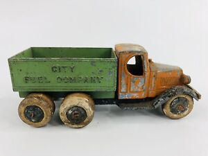 Vintage 1930's Tootsietoy Mack City Fuel Company Truck Orange And Green