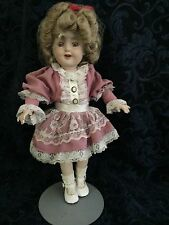 """Shirley Temple 16"""" + Porcelain Doll In Adorable Pink"""