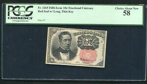 Fr. 1265 10 TEN CENTS FIFTH ISSUE FRACTIONAL CURRENCY NOTE PCGS ABOUT UNC-58