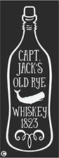 STENCIL CAPT. JACK'S OLD RYE WHISKEY Vintage Advertising Whale On Bottle
