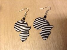 Africana-Arena Handmade Cow Horn Africa Map Zebra Prints Jewelry Earrings AA263