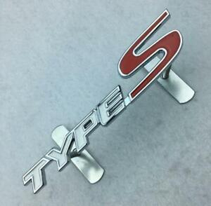 3D Car SUV Metal Front Grill White Red TYPE-S Logo Decal Sticker Badge Emblem