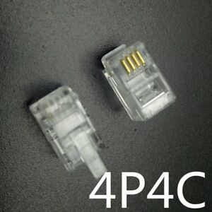 Lot 1- 50  RJ9 Connecteur telephonique 4pins 4P4C generique 4/4 Male Transparent