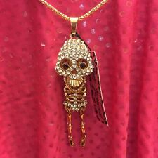 💋Betsey Johnson Ruby Red Eye Skeleton Sweater Necklace 🇺🇸US Seller •FREE S/H‼