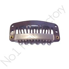10 x Hair Extension Metal Snap Clips for Wig Weft 32mm / 3.2cm Brown