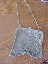 """ANTIQUE GOLD PLATED MESH PURSE WITH SAPPHIRES 4"""" X 4"""""""