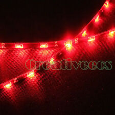 "2x 30CM 12"" 12V Side SMD Side-emitting Waterproof Flexible LED STRIP LIGHT RED"