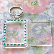 1x Blank Green-Silver Gemstone Clear Acrylic Keyring 50x35mm Photo Size key ring
