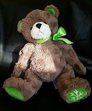 "Animal Adventure Brown Teddy bear Plush Green Ribbon Bow Snowflake Approx 18"""