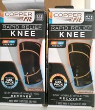 2 Copper Fit Rapid Relief Hot and Cold Knee Wrap One Size USED DAMAGED OPEN