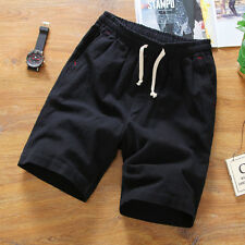 Mens Linen Elastic Waist Shorts Cotton Beach Half Pants Solid Soft Oversize Thin